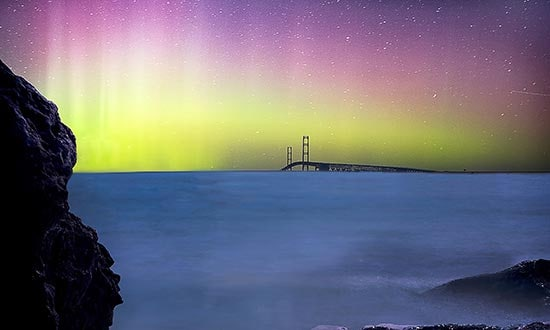 Mackinaw Bridge with Northern Lights